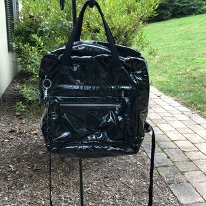 Kipling black patent leather backpack